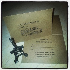parlour gift certificate